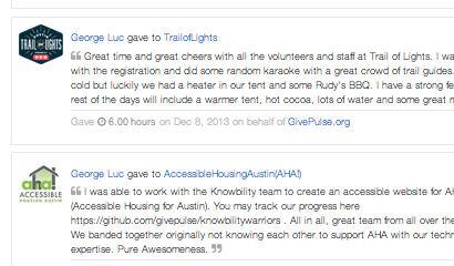 GivePulse - your volunteer profile, track service hours, reflect and socialize